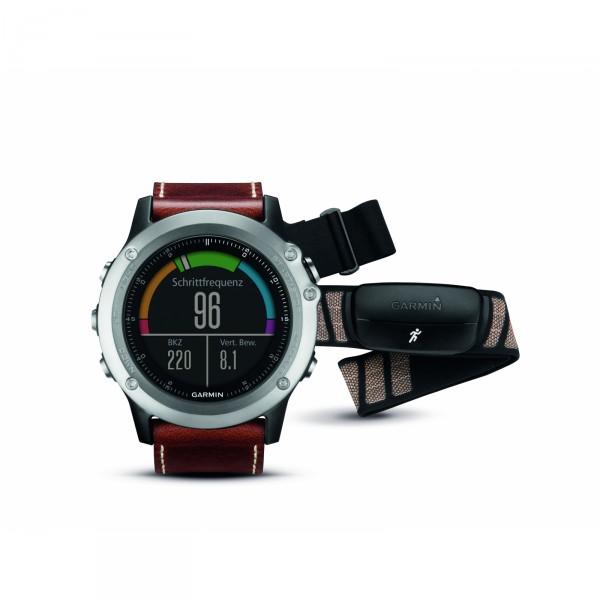 Garmin GPS-Multisportuhr Fenix 3 Saphir Silber + Lederarmband