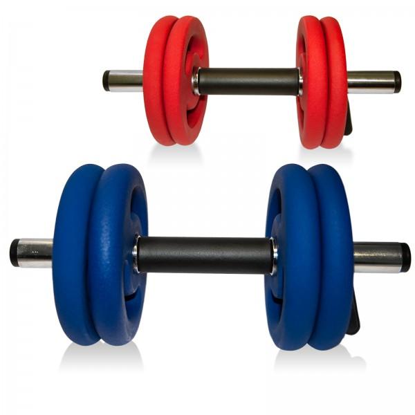 taurus kurzhantel set rot blau kaufen test sport tiedje. Black Bedroom Furniture Sets. Home Design Ideas